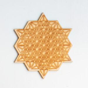 Kristalraster 64 Zijdige Tetrahedron 12 cm, Kristalraster met kristallen, Crystal grid, Crystal healing grid, kristalrooster, kristal raster, heilige geometrie,