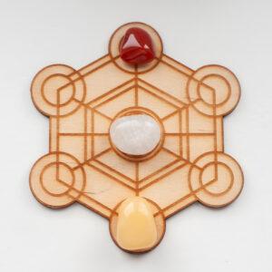 Kristalraster Hexagon Metatron 12 cm met gezondheid edelstenen set, Down to Earthstones,