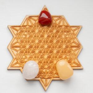 Kristalraster 64 Zijdige Tetrahedron 12 cm met gezondheid edelstenen set, Down to Earthstones, kristalraster, gezondheid kristallen, set