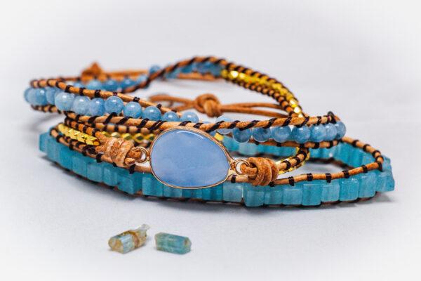 Aquamarijn wikkelarmband