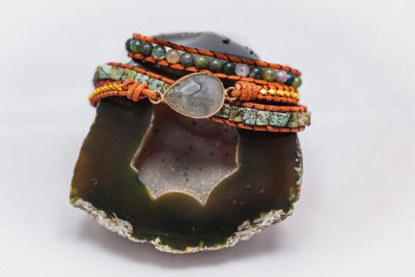 Turquoise en Agaatwikkelarmband